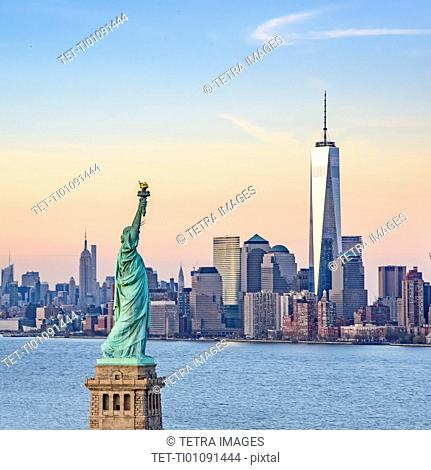 Statue of Liberty and One World Trade Centre