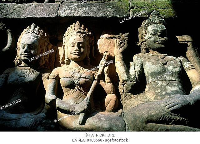 The Terrace of the Leper King or Leper King Terrace is located in the northwest corner of the Royal Square of Angkor Thom,Cambodia