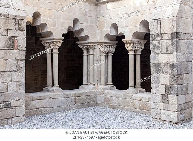 Cloister of romanesque monastery Sant Pau del Camp, located in raval quarter. Barcelona