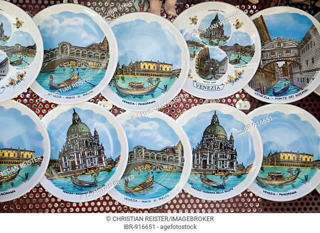 Keepsakes, souvenir plates with motives from Venice, Veneto, Italy, Europe