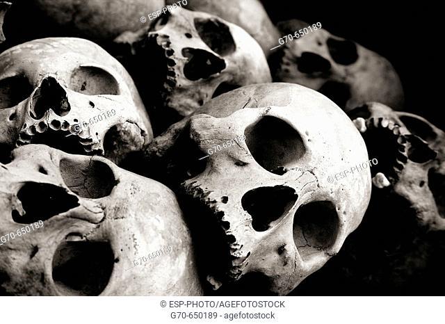Human Skull at Memorial Stupa Phnom Penh Cambodia