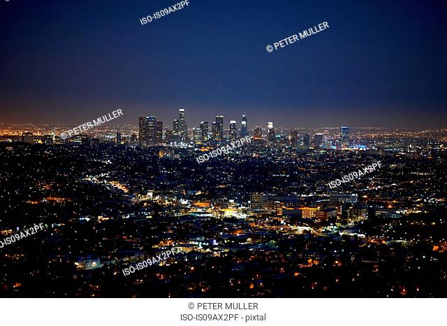 Aerial view of city, Los Angeles, USA