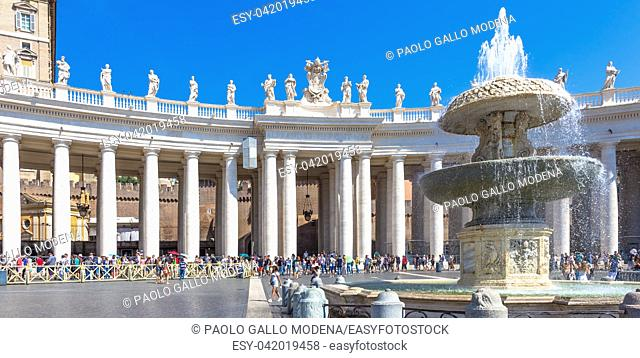 Long line of people waiting in front of Saint Peter Basilica entrance. Concept for overtourism and mass-tourism. Rome, Vatican