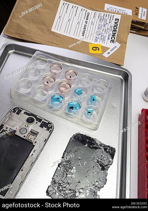 Scientific police extract pieces of burnt smartphone involved in lab murder, concept image