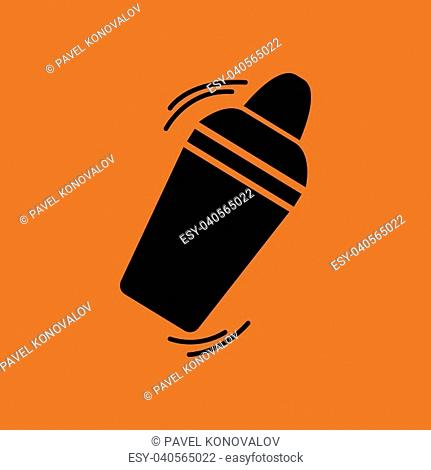 Bar shaker icon. Orange background with black. Vector illustration