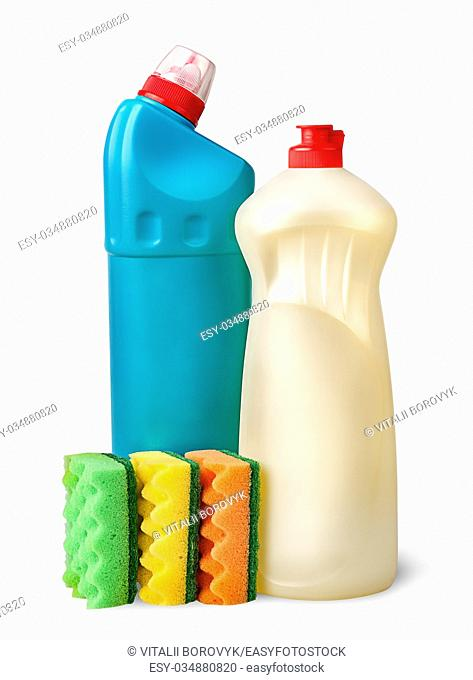 Sponges and detergent isolated on white background