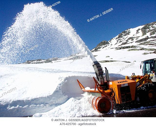 Clearing snow at Susten Pas, Switzerland