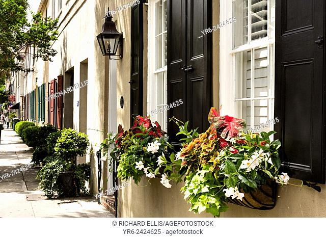 Flowers blooming in window boxes with traditional shutters along State Street in historic Charleston, SC