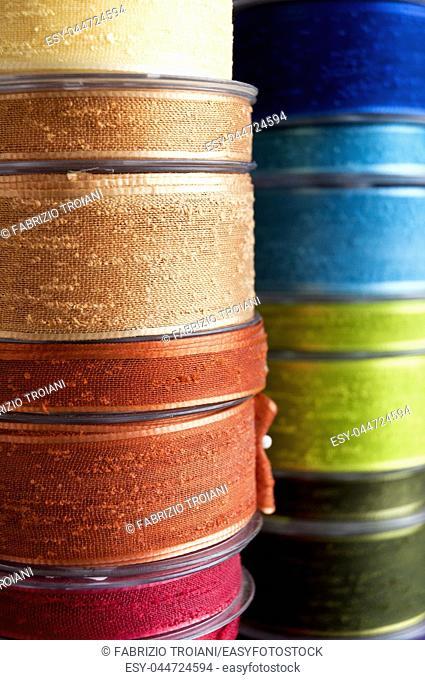 Close up shot of decorative cloth ribbon
