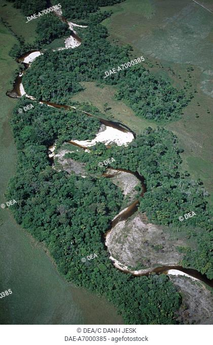 Venezuela - Guayana - Bolivar - Canaima National Park (UNESCO World Heritage List, 1994). An aerial view of a river course