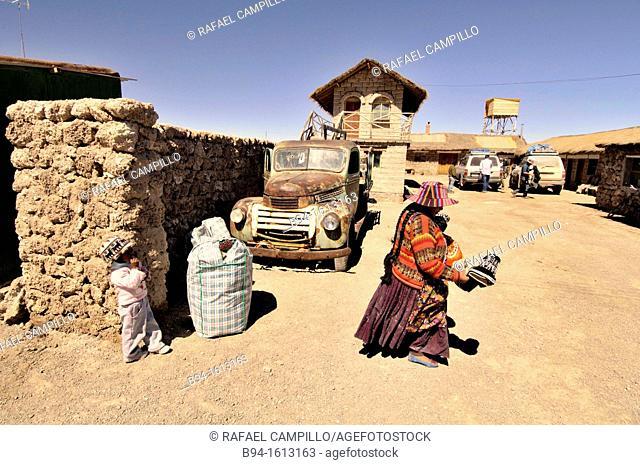 Area near Salar de Uyuni (or Salar de Tunupa), the world's largest salt flat at 10,582 square kilometers. It is located in the Potosí and Oruro departments in...