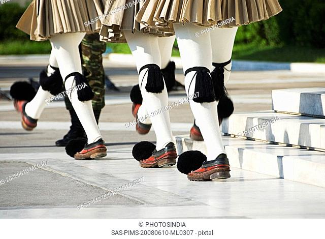 Royal guards at a monument, Tomb of The Unknown Soldier, Syntagma Square, Athens, Greece