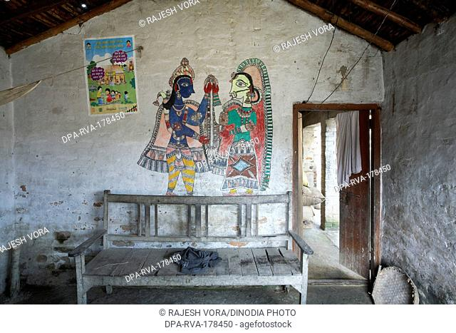 House in Wooden Bench and Painting Madhubani Bihar India Asia
