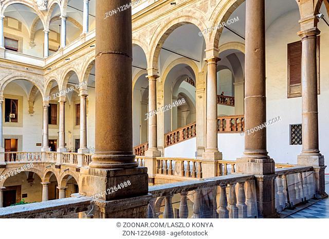 The loggia of the Maqueda Courtyard of Norman Palace (Palazzo dei Normanni) - Palermo, Sicily, Italy, 20 October 2011
