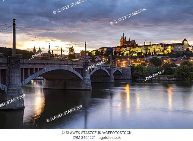 Evening at Manes Bridge in Prague