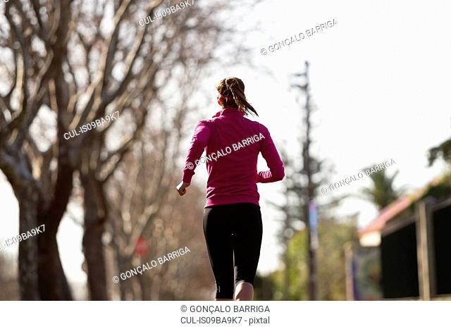 Rear view of young woman jogging