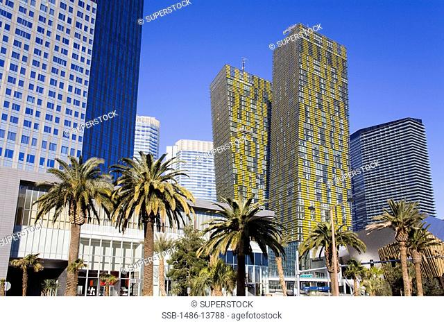 Low angle view of skyscrapers in a city, Veer Towers, CityCenter, Las Vegas, The Strip, Clark County, Nevada, USA
