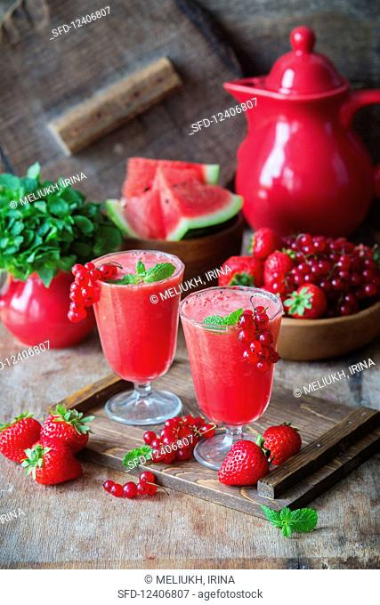 Watermelon and berry smoothies