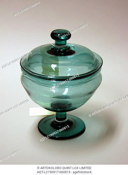 Covered Compote, ca. 1825, midwestern free blown glass, Overall: 8 1/2 × 6 1/2 inches (21.6 × 16.5 cm)