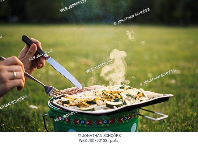 Woman eating barbecued sausages and vegetables on a meadow, partial view