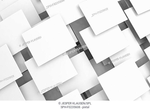 White overlapping squares, illustration