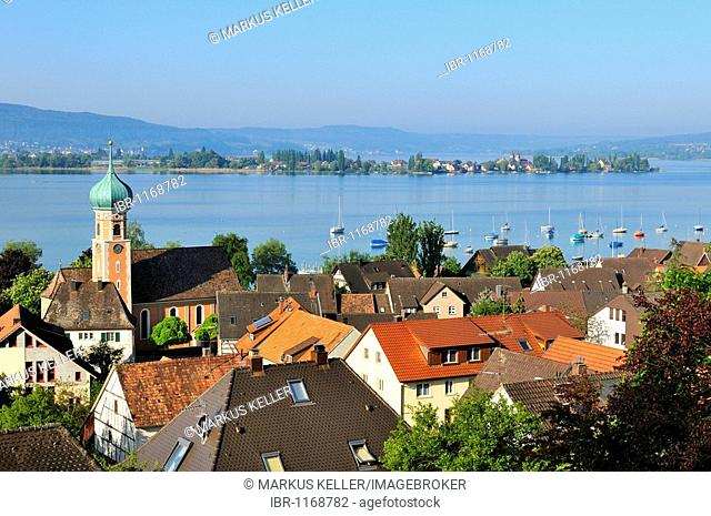 View of the municipality Allensbach on Lake Constance, Reichenau Island in the back, county of Constance, Baden-Wuerttemberg, Germany, Europe
