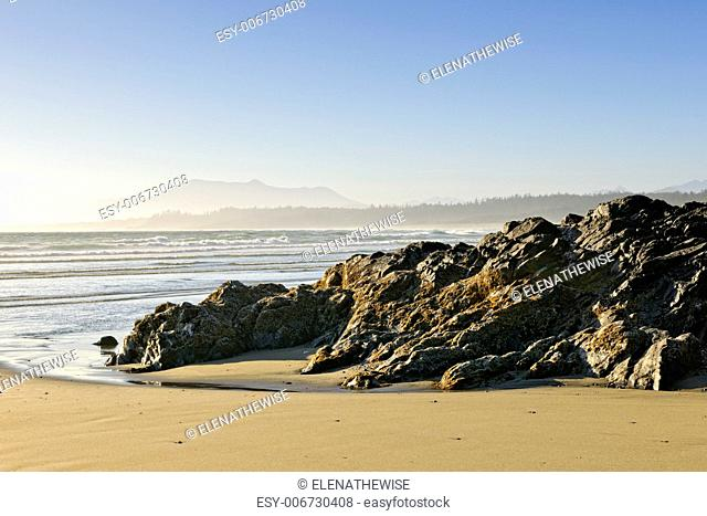 Rocky shore of Long Beach in Pacific Rim National park, Canada