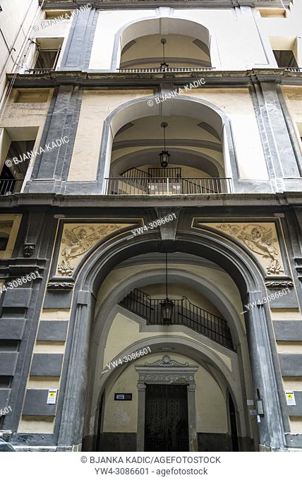 Palazzo Cavalcanti 18th century, one of many residential historical houses in Toledo street, Naples, Italy
