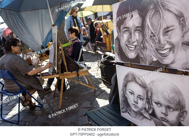 PAINTERS, DRAWERS AND CARICATURISTS, PLACE DU TERTRE, BUTTE MONTMARTRE, 18TH ARRONDISSEMENT, PARIS, FRANCE