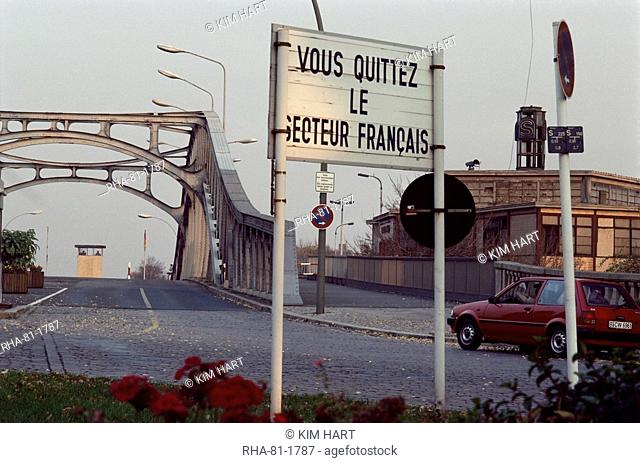 Checkpoint into East Berlin from Bornholmerstrasse, taken in 1986, East Germany, Germany, Europe