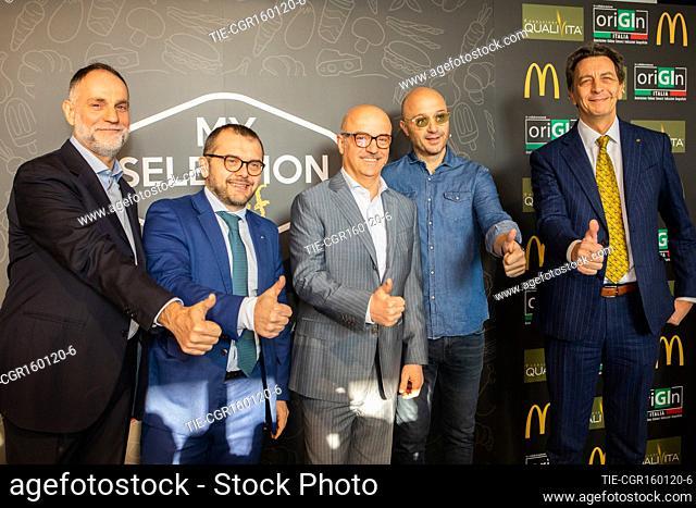 Fabio Rolfi, Mario Federico, Joe Bastianich, Cesare Baldrighi presents 'My selection 2020' of McDonald's, Milan, Italy - 16 Gen 2020