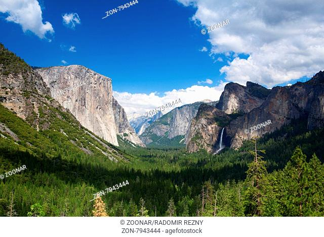 The typical view of the Yosemite Valley from the tunnel entrance to the Valley. Yosemite National Park, California