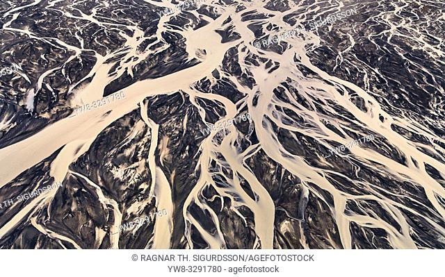 Riverbeds and black sands, Medallandssandur, Iceland. This image is shot using a drone