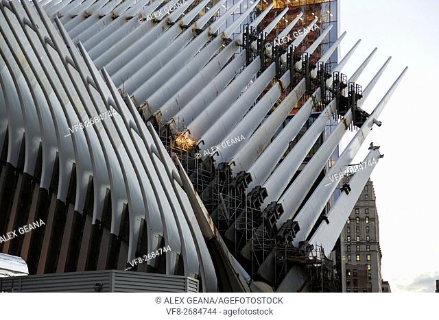 The new Transportation Hub in the World Trade Center complex is being constrcuted by skilled and dedicated craftsman