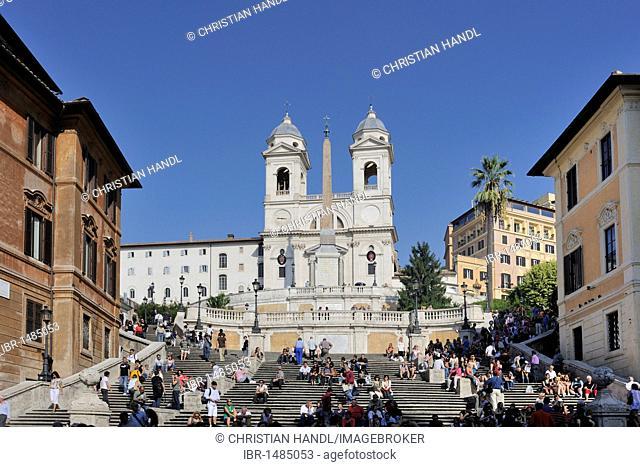 Spanish Steps and Church of Trinita dei Monti, Rome, Italy, Europe