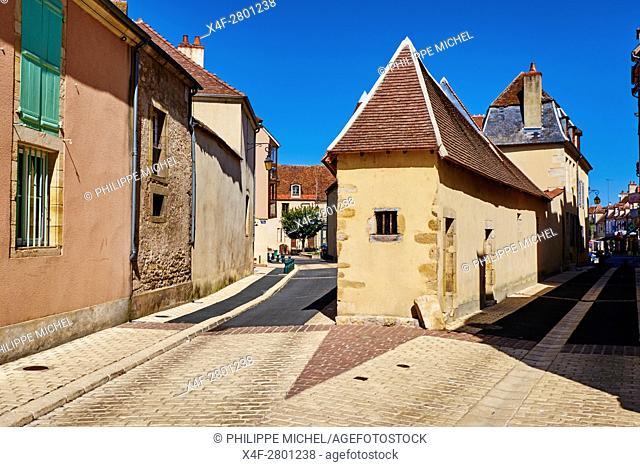 France, Cher (18), Berry, Saint-Amand-Montrond, the corner of the streets rue du Four and rue de la Tour, the Jacques Coeur road