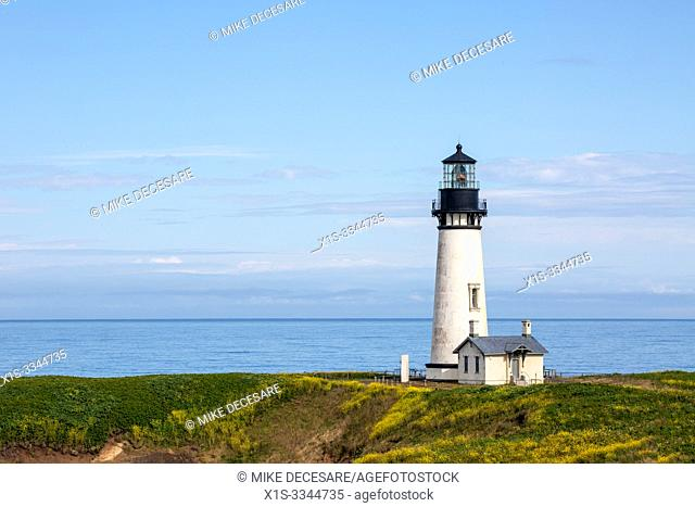 The Yaquina lighthouse, also known as the Foulweather Lighthouse, was built in the 19th Century, to guide mariners off the rugged coast of Oregon