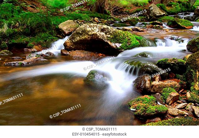 Waterfall In national park Krkonose - Czech - Cernohorsky waterfall