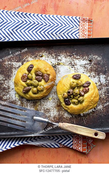 Mini focaccia with olives