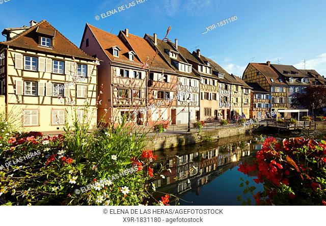 Timber framing houses at the fishmonger's district, Little venice, Colmar, Alsace, France