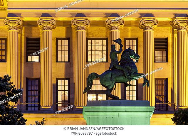 Equestrian statue of President Andrew Jackson in front of the State Capitol Building, Nashville, Tennessee, USA