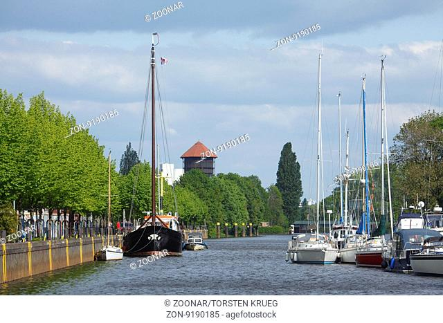 Old Water Tower with River Hunte and Boats, Oldenburg