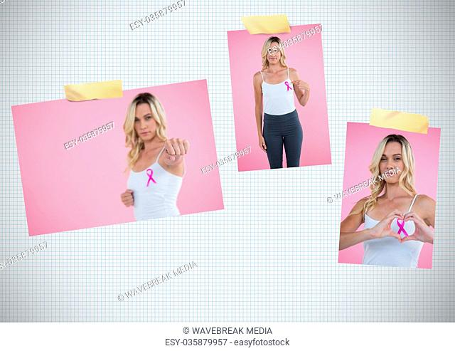 Breast Cancer Awareness Photo Collage with woman