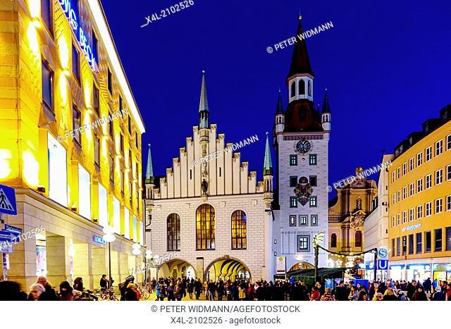 Christmas Market at Marienplatz in Munich, Germany, Bavaria