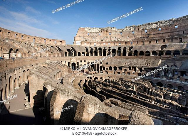 The interior of the Colosseum, Rome, Italy, Europe