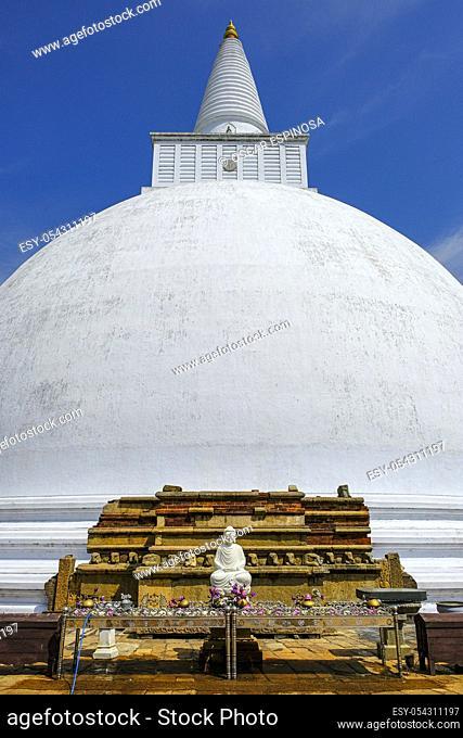 Anuradhapura, Sri Lanka - February 2020: Buddhist stupa Mirisavatiya Dagoba on February 6, 2020 in Anuradhapura, Sri Lanka