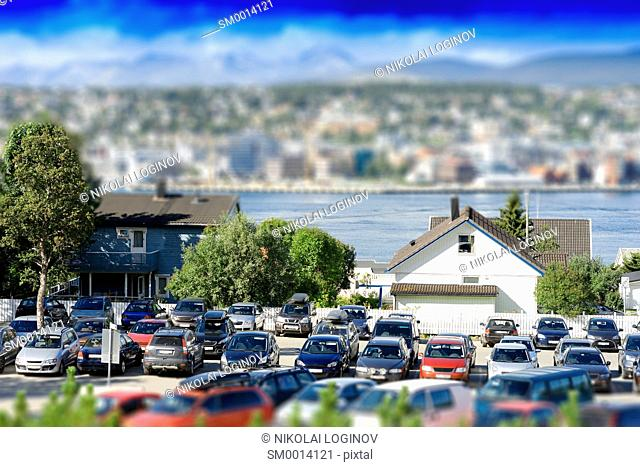 Car parking transportation bokeh background hd