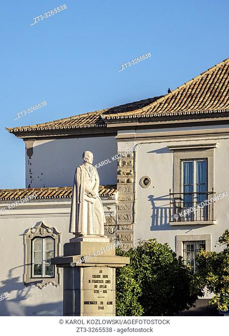 Francisco Gomes de Avelar Statue at Largo da Se, Faro, Algarve, Portugal