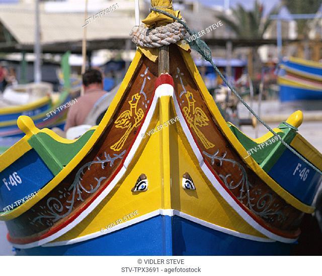 Detail, Fishing boat, Holiday, Landmark, Malta, Marsaxlokk, Tourism, Travel, Vacation