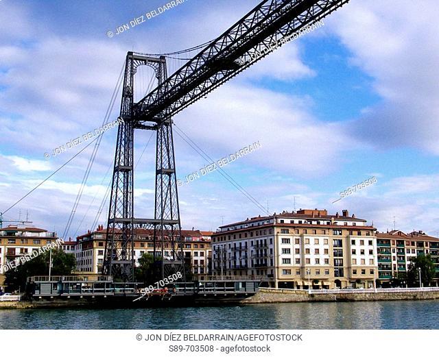 Spain. Euskadi. Vizcaya. Vizcaya suspension bridge between Las Arenas and Portugalete